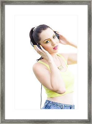 Woman Listening To Music Framed Print by Jorgo Photography - Wall Art Gallery