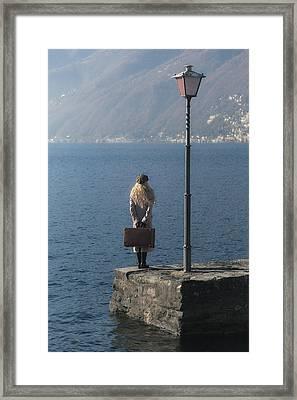 Woman On Jetty Framed Print by Joana Kruse