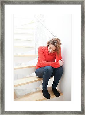 Woman On Staircase Framed Print by Ian Hooton
