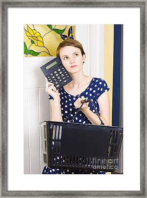 Woman Planning Shopping Budget With Calculator Framed Print by Jorgo Photography - Wall Art Gallery