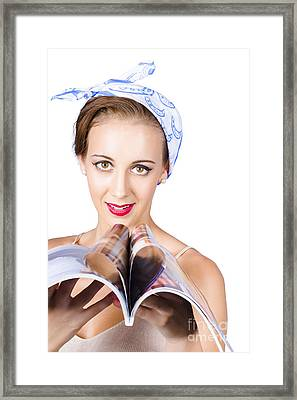 Woman Reading Fashion Magazine Framed Print by Jorgo Photography - Wall Art Gallery