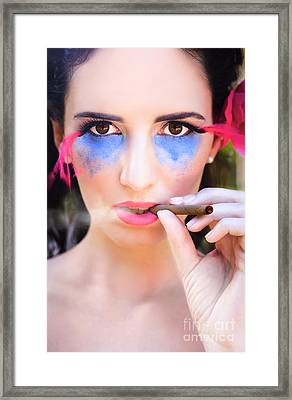 Woman Smoking Cigar Framed Print by Jorgo Photography - Wall Art Gallery