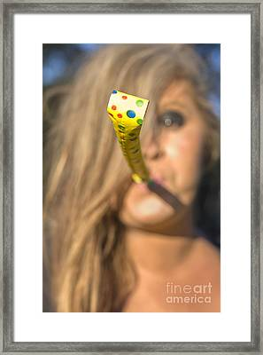 Woman Whistle Blower Framed Print by Jorgo Photography - Wall Art Gallery