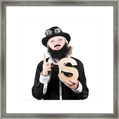 Woman With False Beard And Mustache Holding Alphabet S Framed Print by Jorgo Photography - Wall Art Gallery