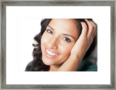 Woman With Hand In Hair Framed Print by Ian Hooton