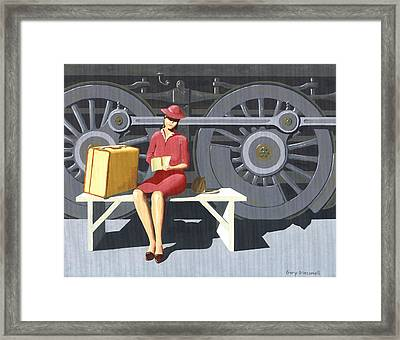 Woman With Locomotive Framed Print by Gary Giacomelli