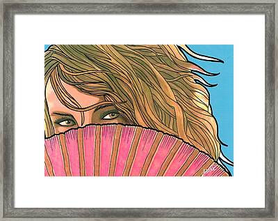 Woman With Pink Fan  Framed Print by Mario Labonte