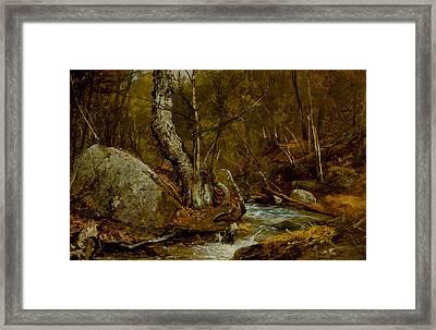 Woodland Interior Framed Print by John Frederick Kensett