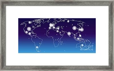 World Economies Map Framed Print by Atiketta Sangasaeng