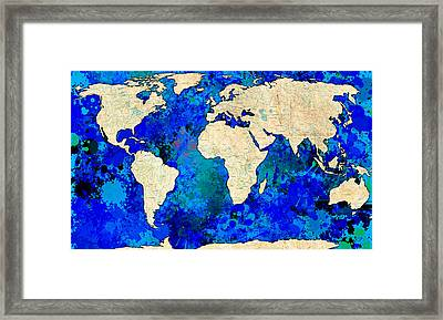 World Map Blue Framed Print by Gary Grayson
