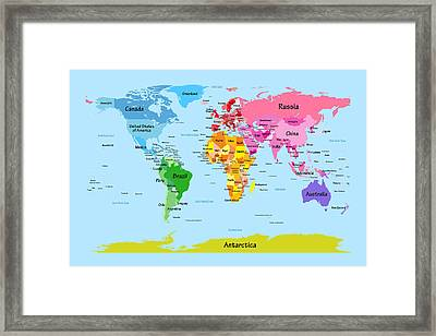 World Map With Big Text Framed Print by Michael Tompsett