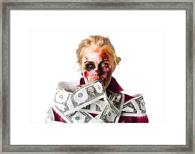 Worried Zombie With Dollar Bills Framed Print by Jorgo Photography - Wall Art Gallery