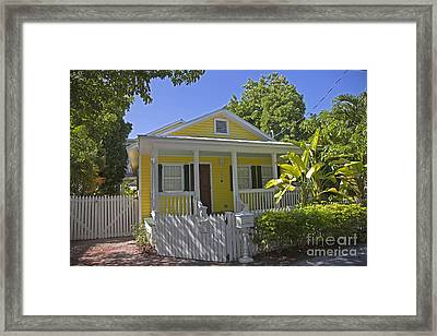 Yellow Key West Florida Cottage Framed Print by John Stephens
