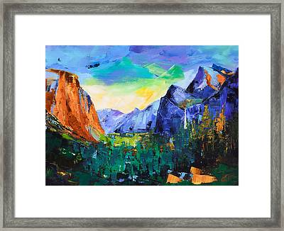 Yosemite Valley - Tunnel View Framed Print by Elise Palmigiani