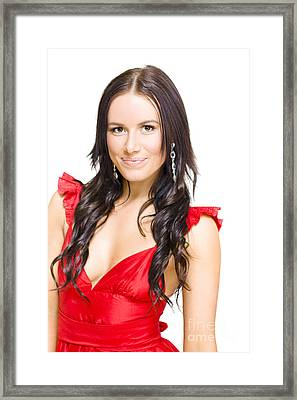 Young Sexy Woman With Brunette Hair In Red Dress Framed Print by Jorgo Photography - Wall Art Gallery
