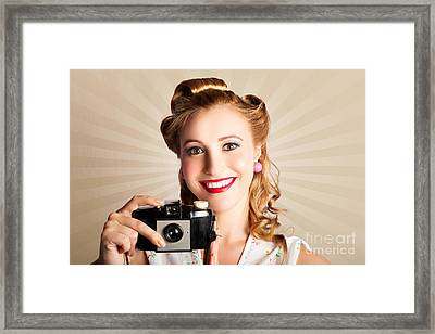 Young Smiling Vintage Girl Taking Photo Framed Print by Jorgo Photography - Wall Art Gallery