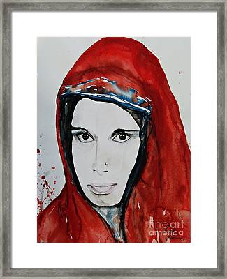 Young Woman From India - Painting Framed Print by Ismeta Gruenwald