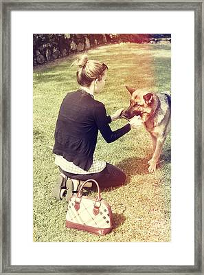 Young Woman In 20s Playing Fetch With Her Dog Framed Print by Jorgo Photography - Wall Art Gallery