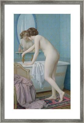Young Woman Preparing Her Bath Framed Print by Jules Scalbert