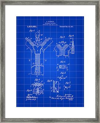 Zipper Patent 1914 - Blue Framed Print by Stephen Younts