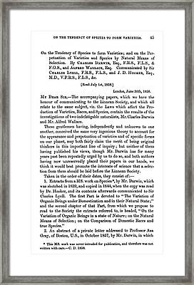 Charles Robert Darwin (1809-1882) Framed Print by Granger