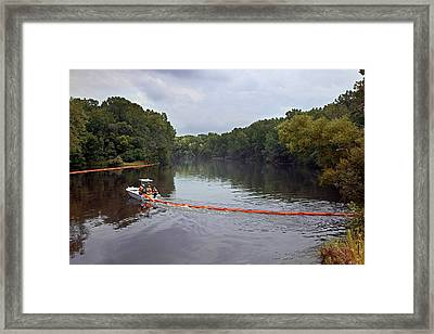 Oil Spill Cleanup Framed Print by Jim West