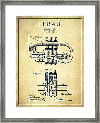 Cornet Patent Drawing From 1901 - Vintage Framed Print by Aged Pixel