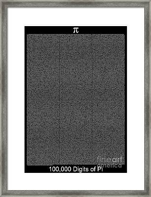 100 000 Digits Of Pi Framed Print by Stefano Senise
