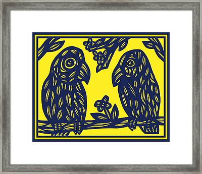Parrot With Flower Black And White Framed Print by Eddie Alfaro