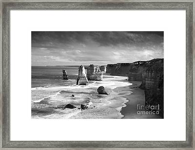12 Apostles With Ansel Adams Effect Framed Print by Josephine Caruana