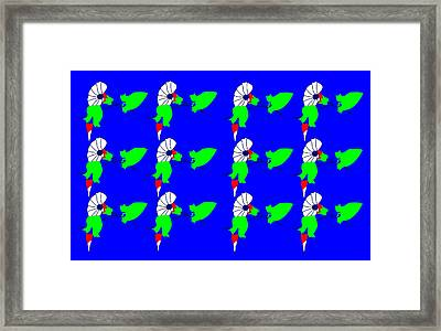 12 Bindweed Flowers On Blue Framed Print by Asbjorn Lonvig