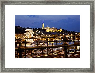 Budapest By Night Framed Print by Odon Czintos