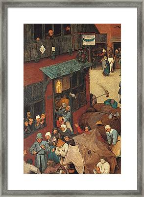 The Fight Between Carnival And Lent Framed Print by Pieter the Elder Bruegel