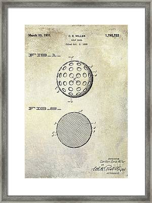 Golf Ball Patent Drawing Framed Print by Jon Neidert