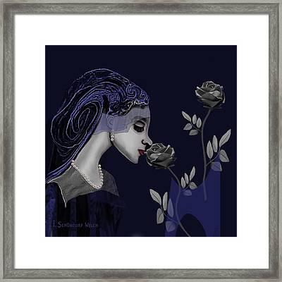 126 - A Young Woman With Roses ... Framed Print by Irmgard Schoendorf Welch
