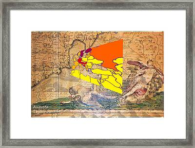 Ancient Cyprus And World Map  Framed Print by Augusta Stylianou