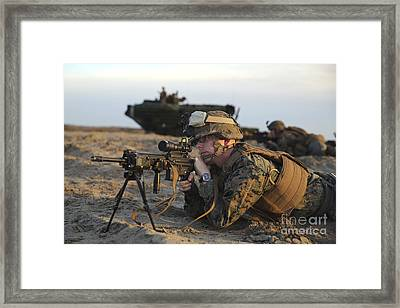 U.s. Marine Provides Security Framed Print by Stocktrek Images