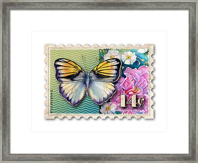 14 Cent Butterfly Stamp Framed Print by Amy Kirkpatrick