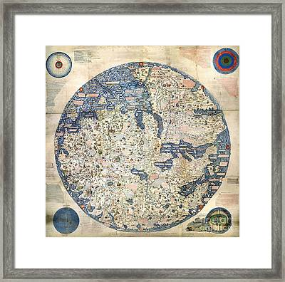 World Map By Fra Mauro - 1458 Framed Print by Pablo Romero