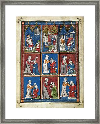 14th Century Religious Manuscript Framed Print by British Library