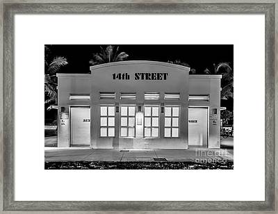 14th Street Art Deco Toilet Block Sobe Miami - Black And White Framed Print by Ian Monk