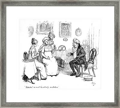 Marriage Proposal Framed Print featuring the drawing Scene From Pride And Prejudice By Jane Austen by Hugh Thomson