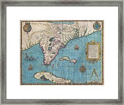 1591 De Bry And Le Moyne Map Of Florida And Cuba Framed Print by Paul Fearn