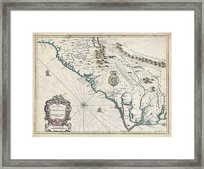 1676 John Speed Map Of Carolina Framed Print by Paul Fearn