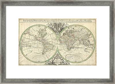 1691 Sanson Map Of The World On Hemisphere Projection Framed Print by Paul Fearn