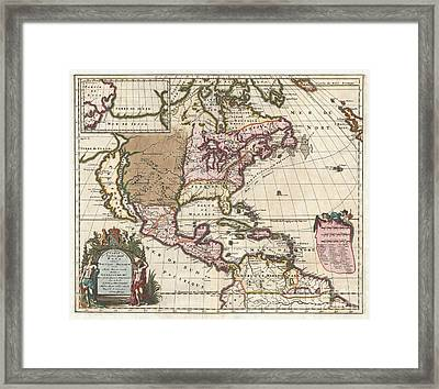 1698 Louis Hennepin Map Of North America Framed Print by Paul Fearn