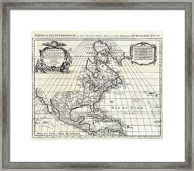 1708 De Lisle Map Of North America Framed Print by Paul Fearn