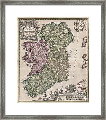 1716 Homann Map Of Ireland Framed Print by Paul Fearn
