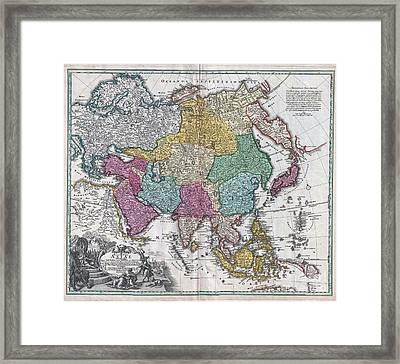 1730 C Homann Map Of Asia  Framed Print by Paul Fearn