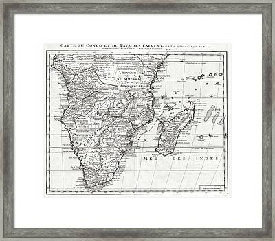 1730 Covens And Mortier Map Of Southern Africa Framed Print by Paul Fearn